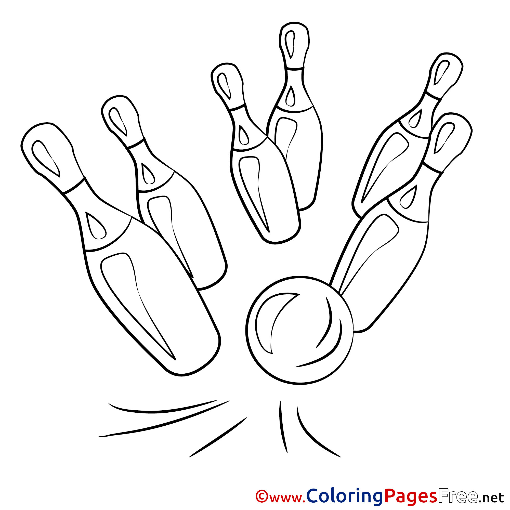 Bowling Pin Coloring Page | 2001x2001