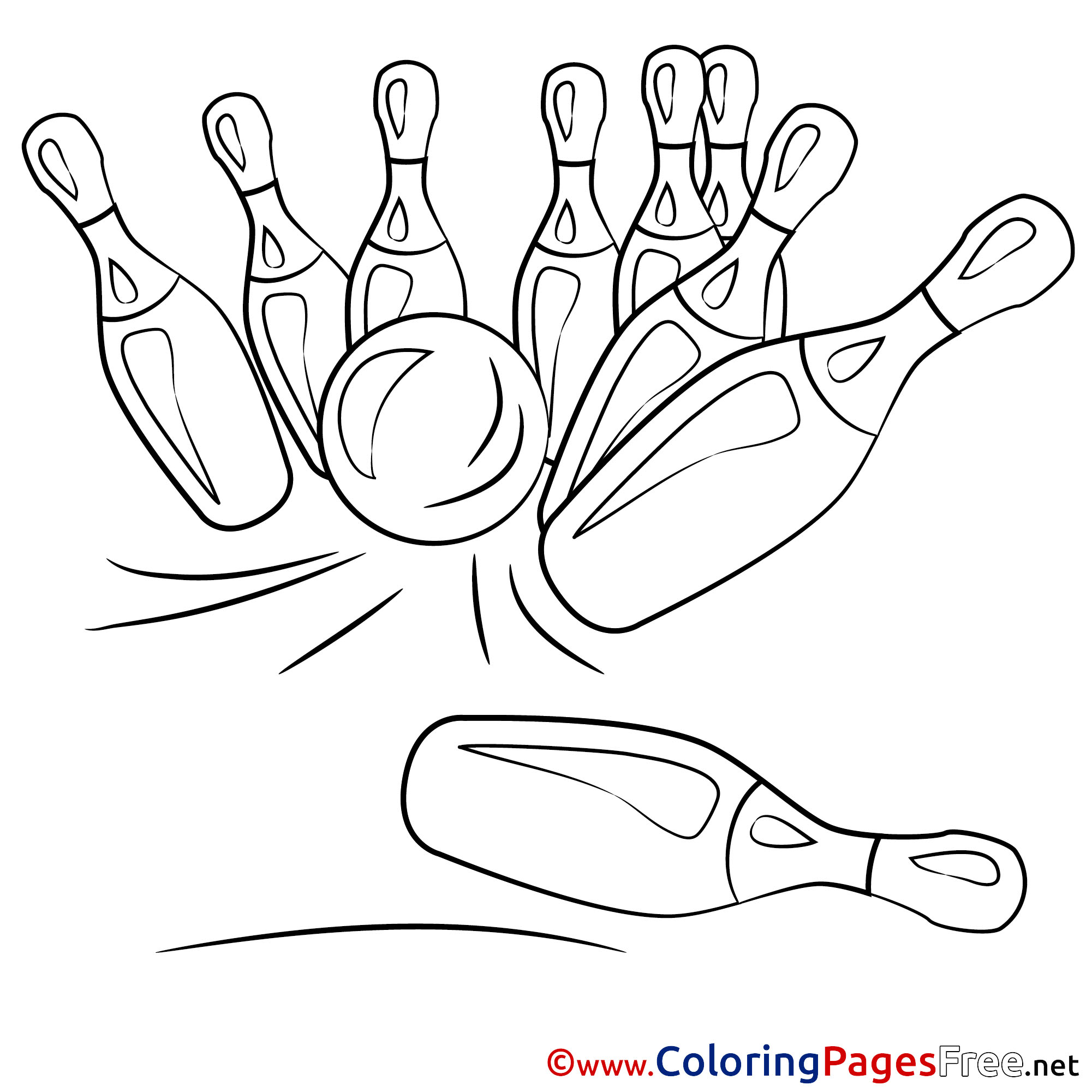 Bowling Ball Crashing Into Bowling Pins Coloring Page | 2001x2001