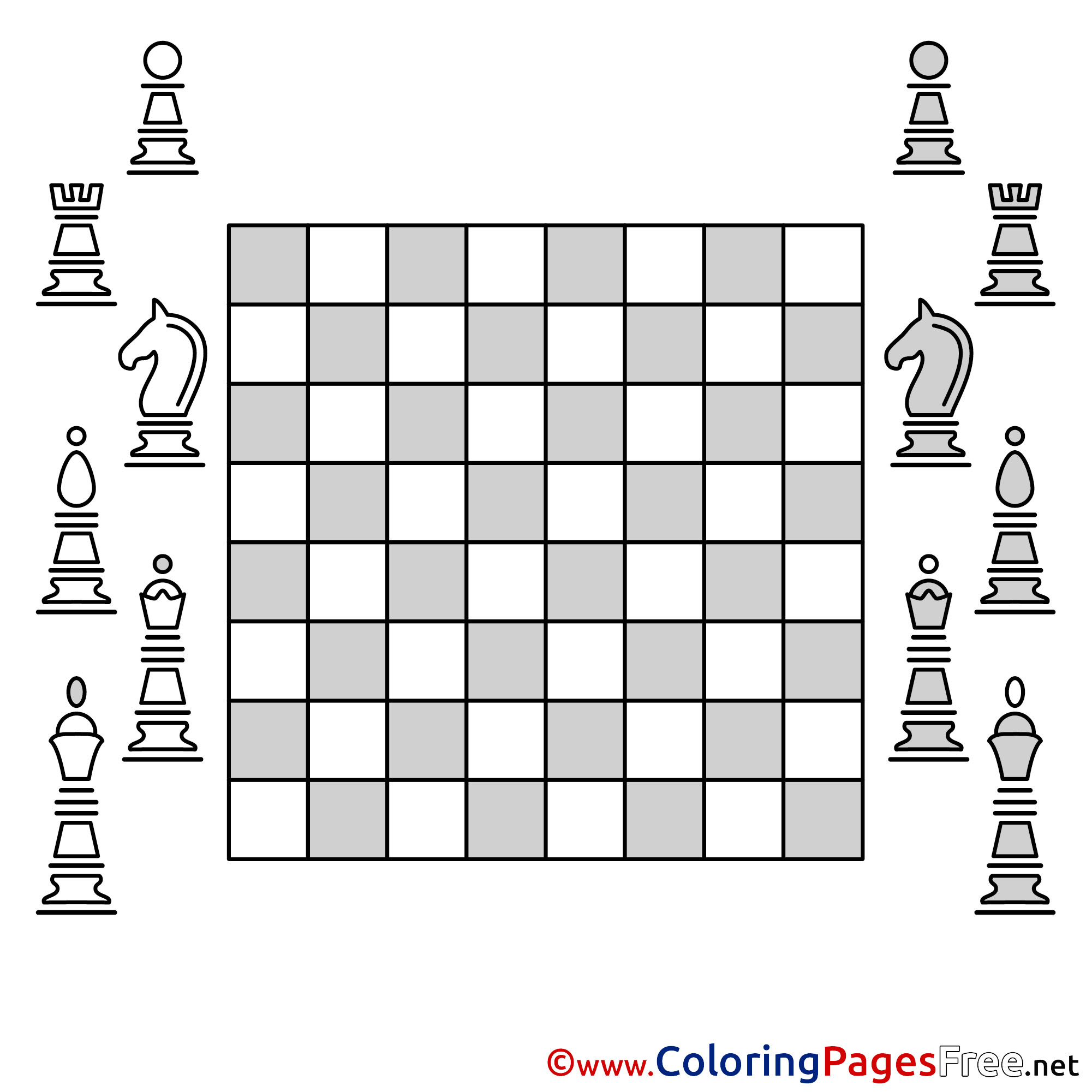 Free Chess Board Colouring Page download