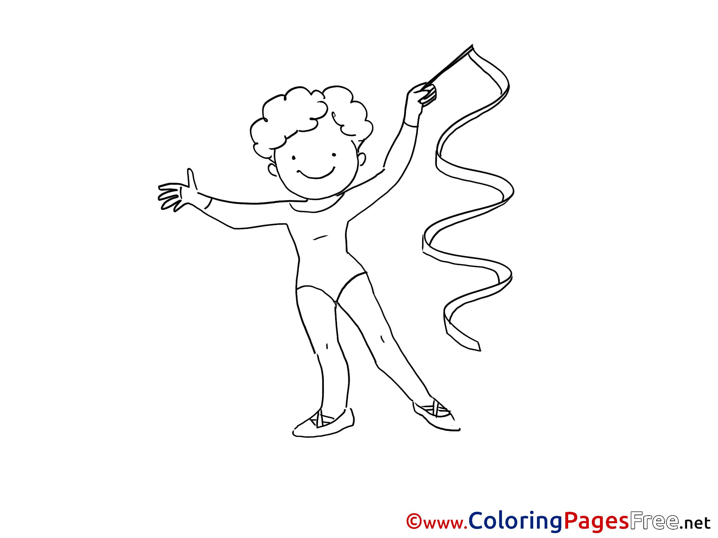 Gymnastics for Kids printable Colouring Page
