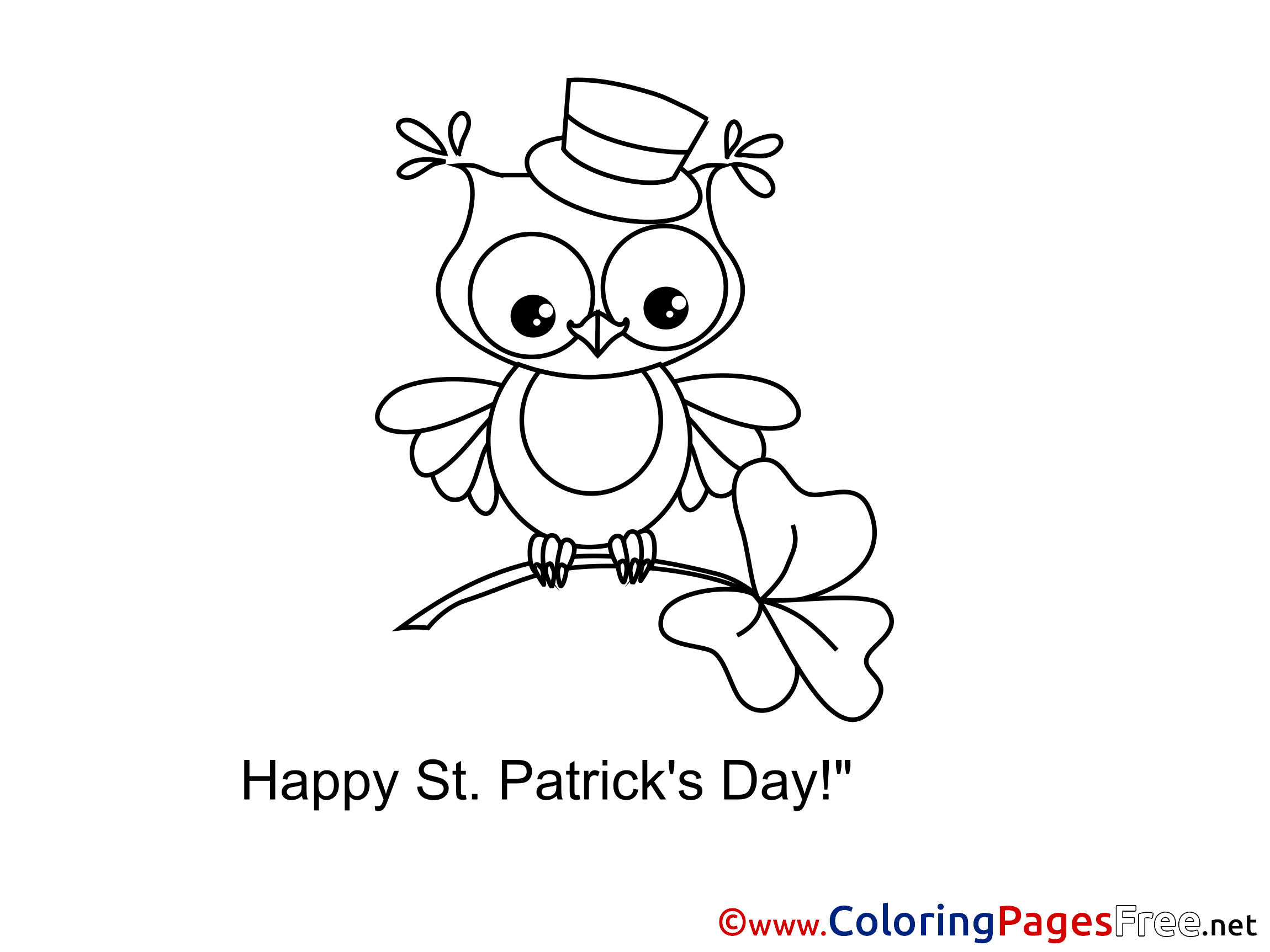 clover owl printable st patricks day coloring sheets