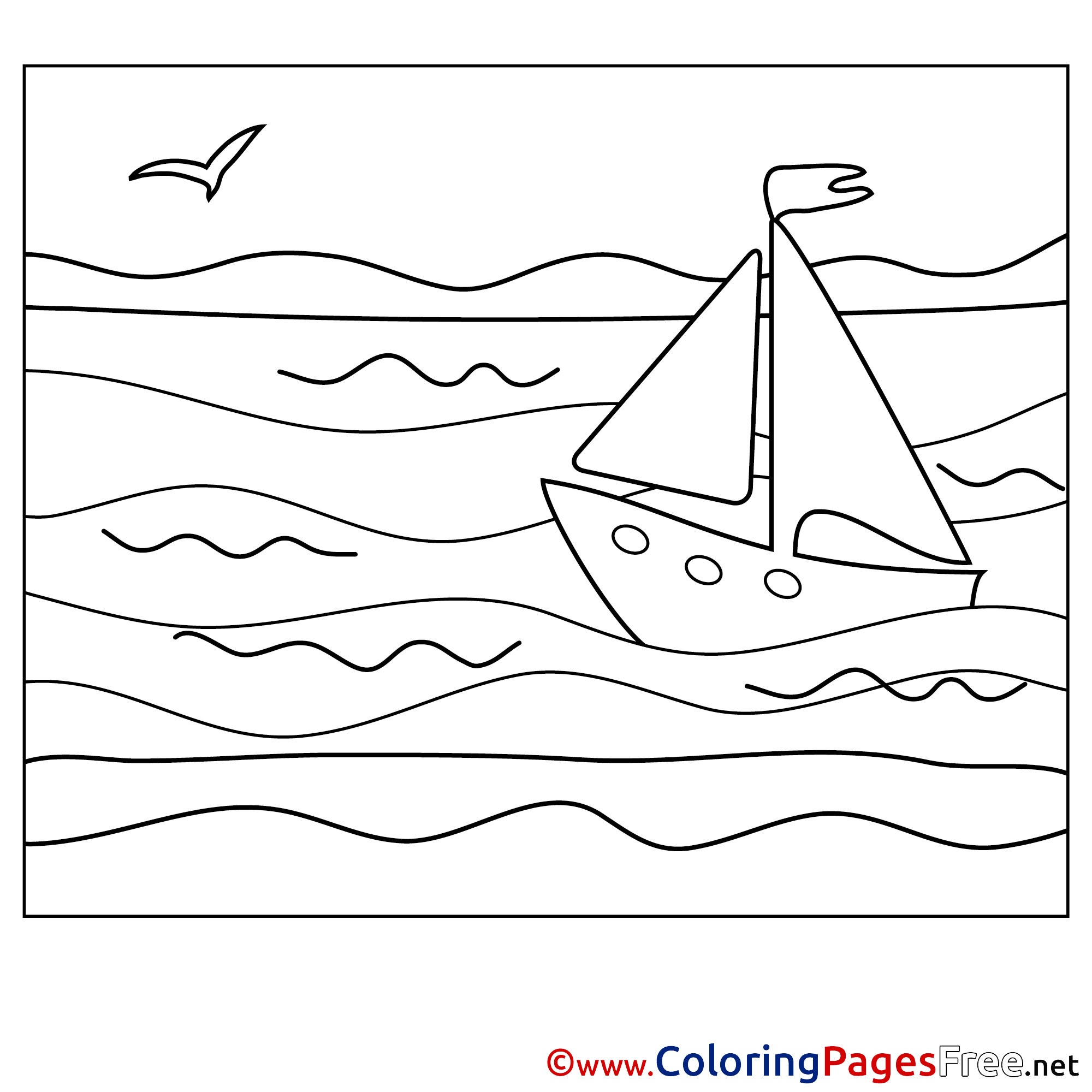 boat coloring pages summer sea