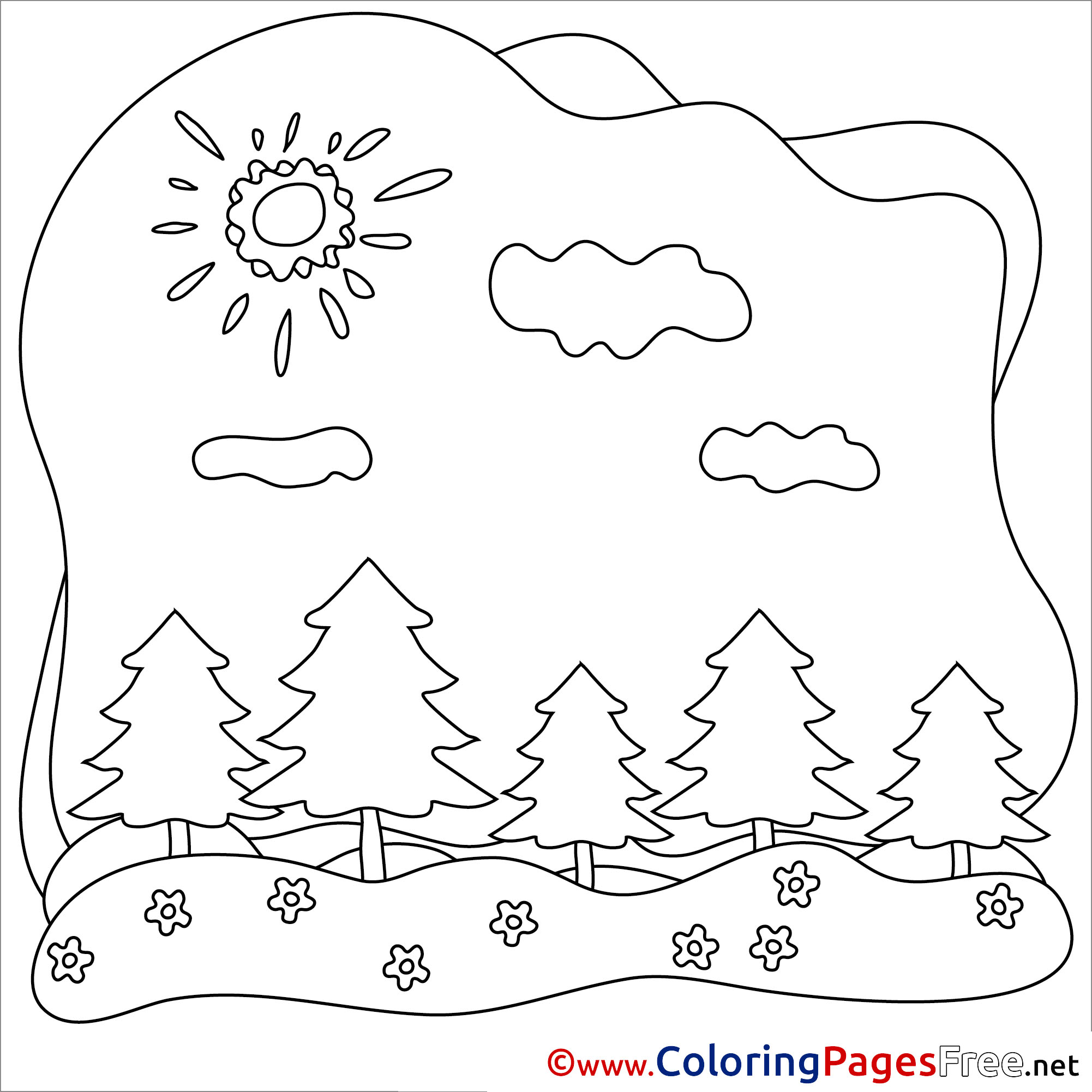 Forest Clouds Kids Summer Coloring Pages