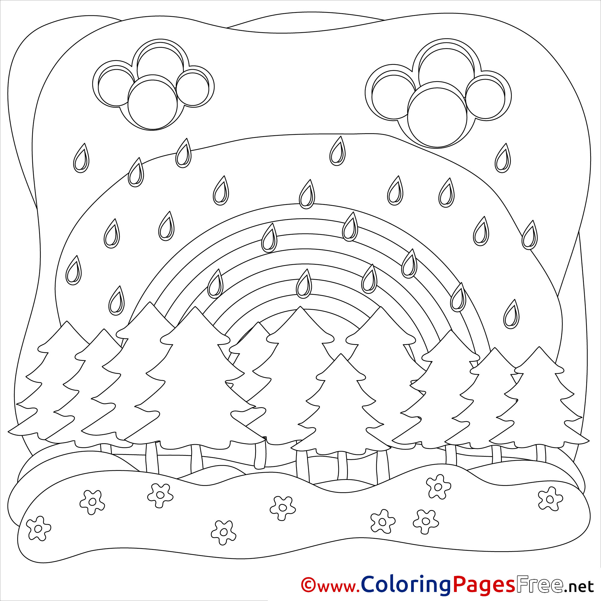 Rain Download Summer Coloring Pages Bad Weather
