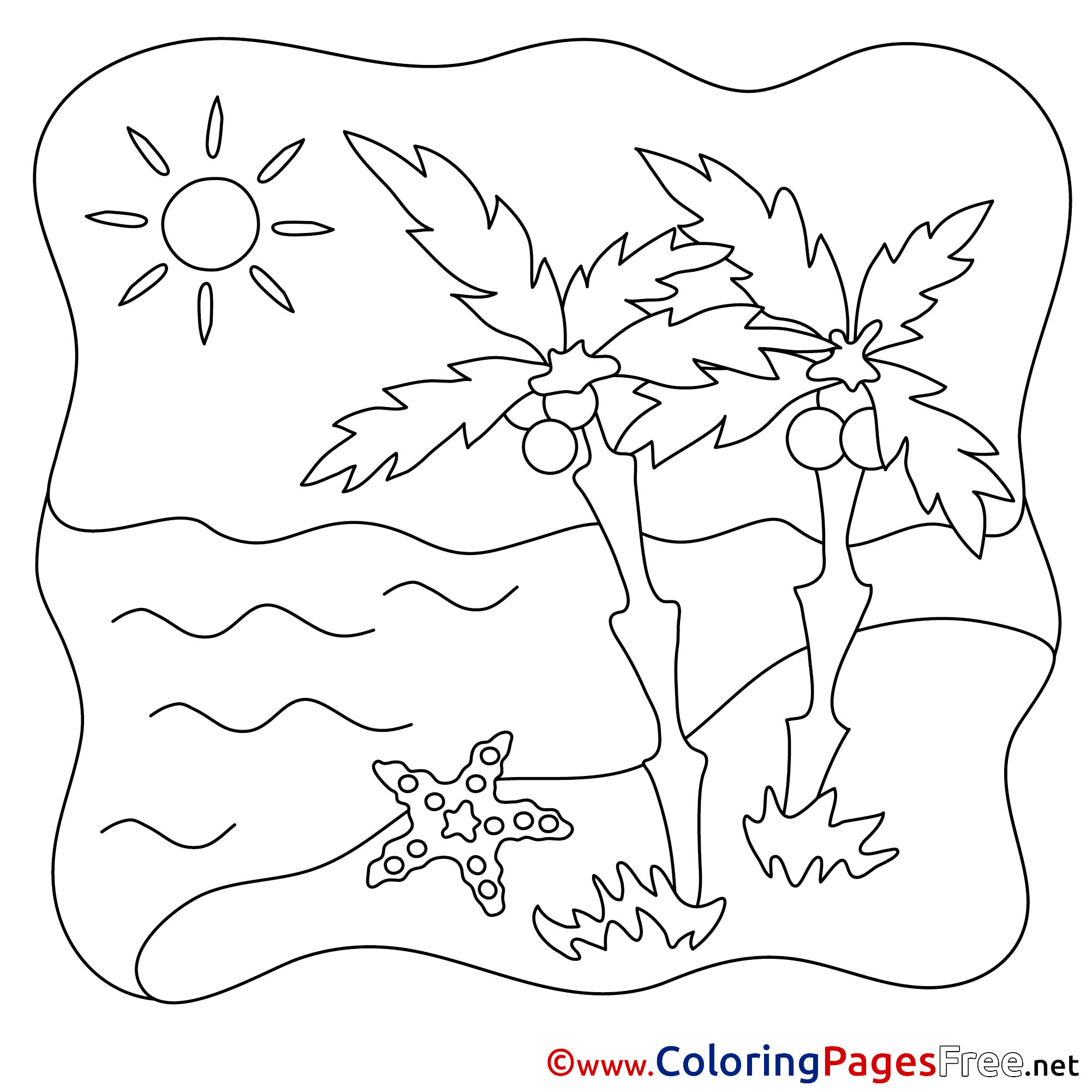 Starfish Kids Summer Coloring Pages Sea