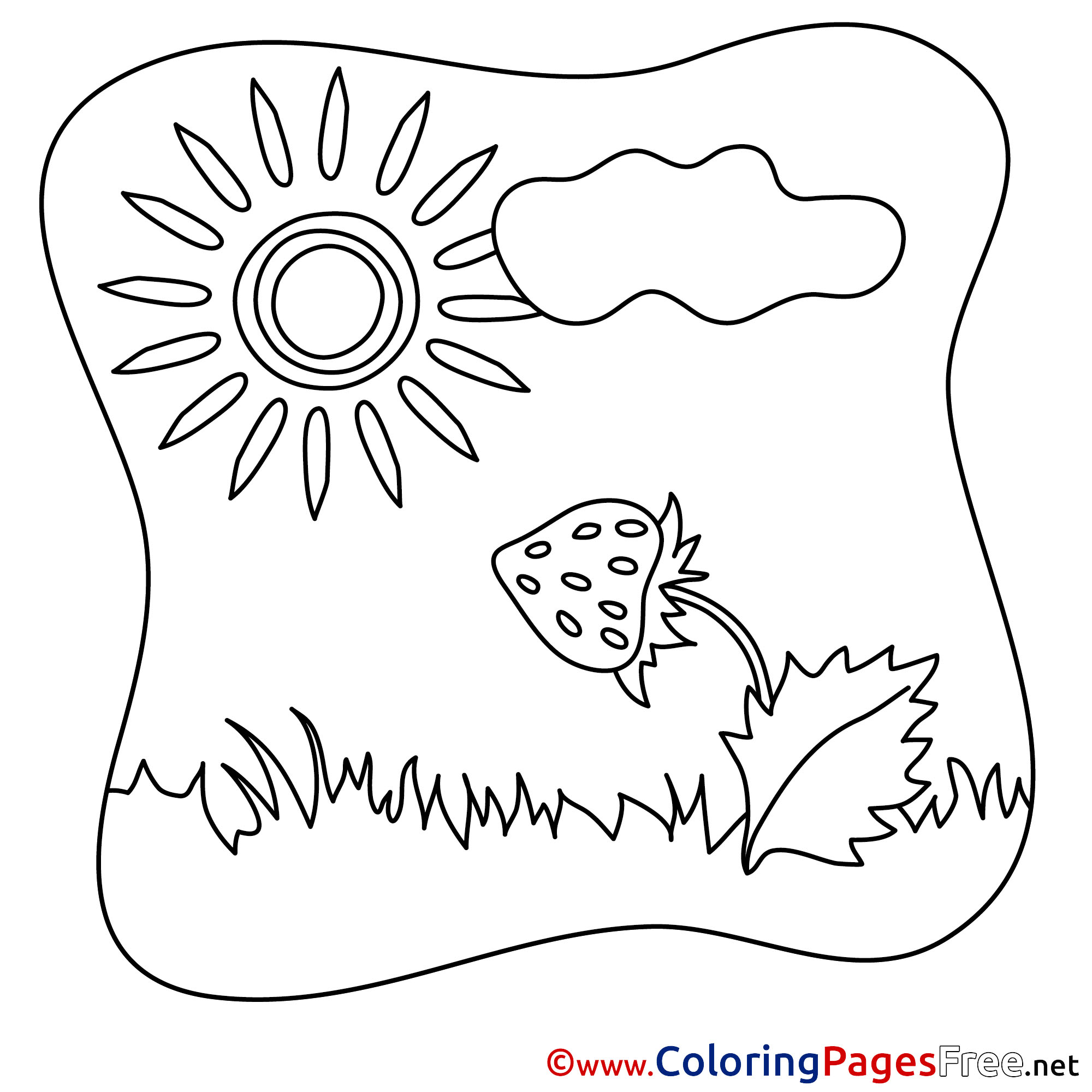 Strawberry Sun Kids Summer Coloring Pages