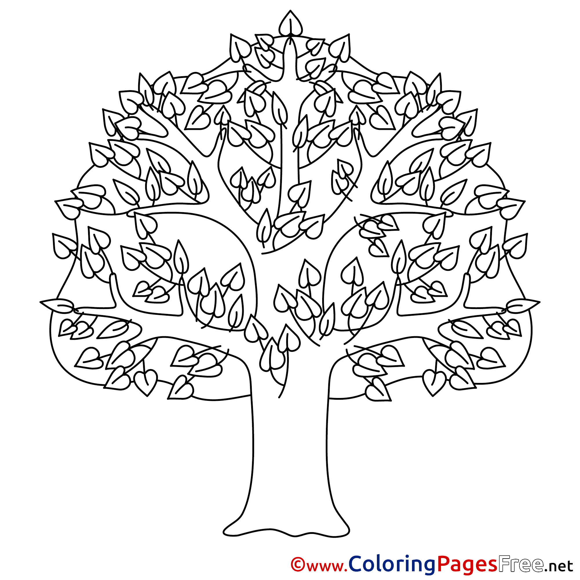 Tree Kids Summer Coloring Page