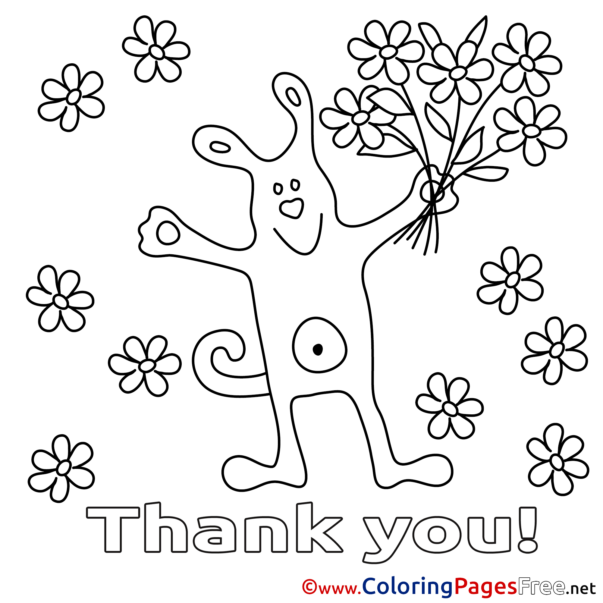 Bouquet Dog Coloring Pages Thank You For Free