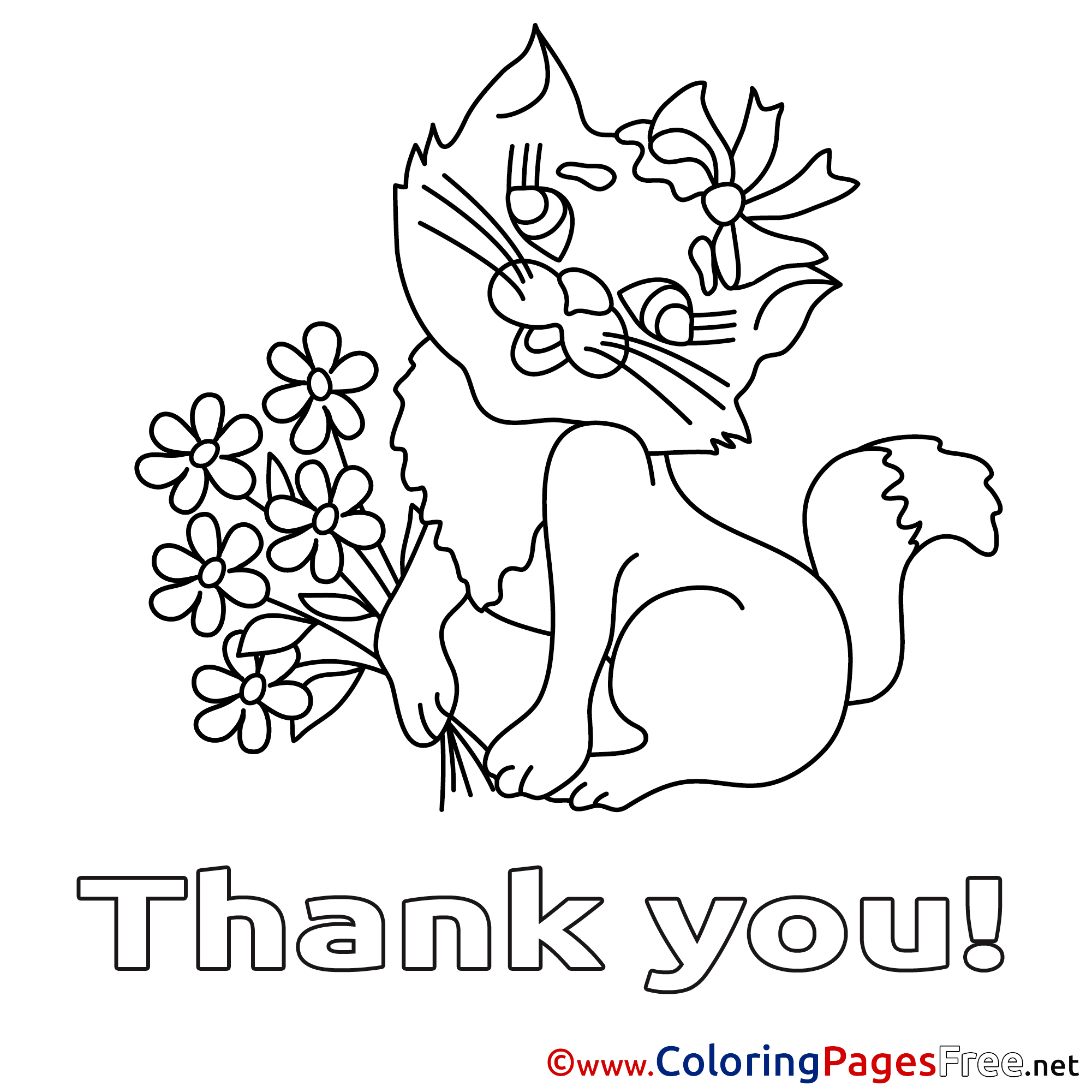 Cat Flowers Thank You Coloring