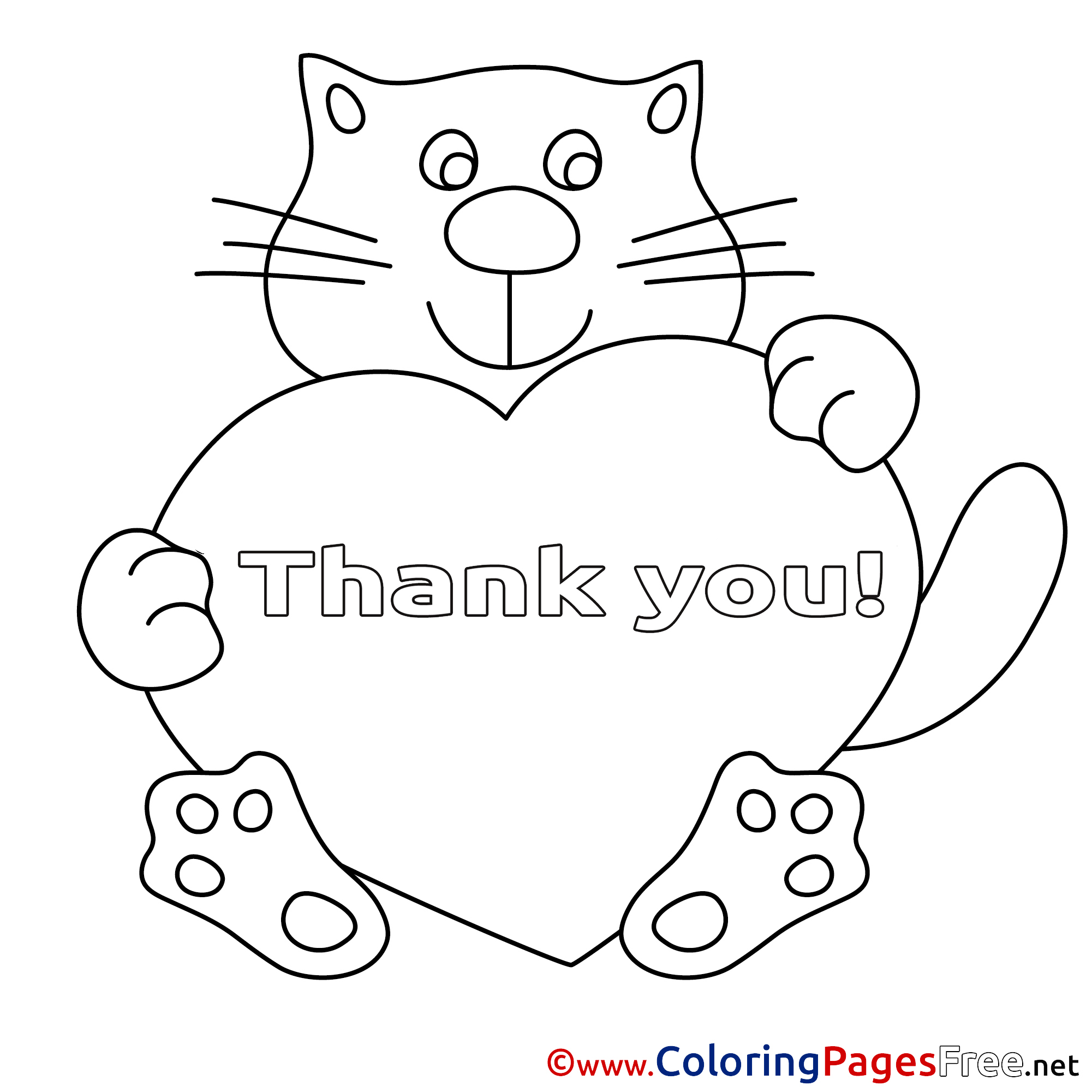 Heart Cat Thank You Colouring Sheet