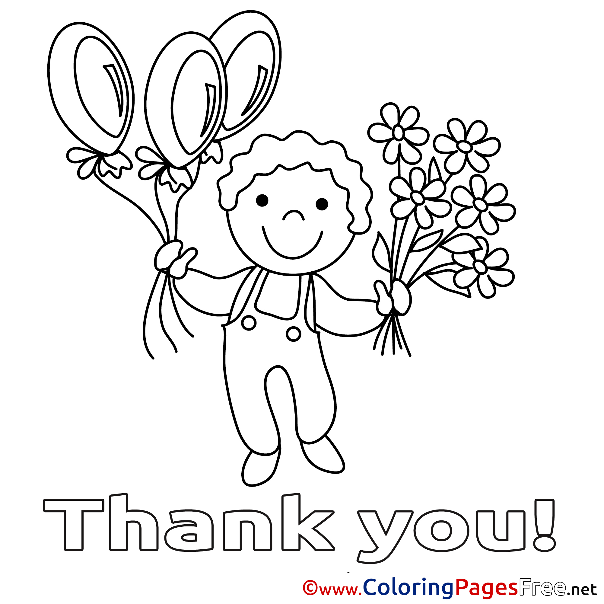 kid flowers thank you coloring pages