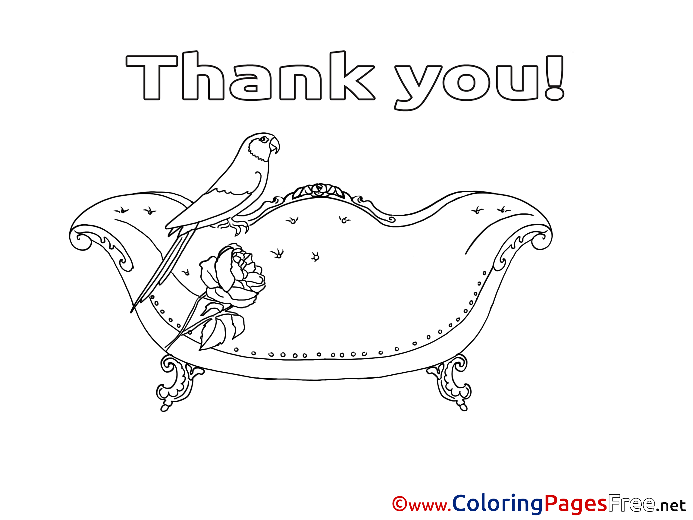 Parrot Coloring Pages Thank You for free