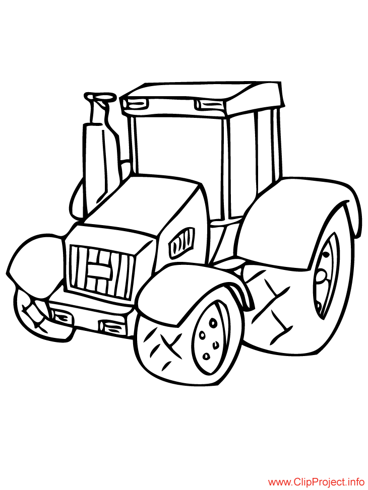 Cartoon Tractor Image For Colouring Free