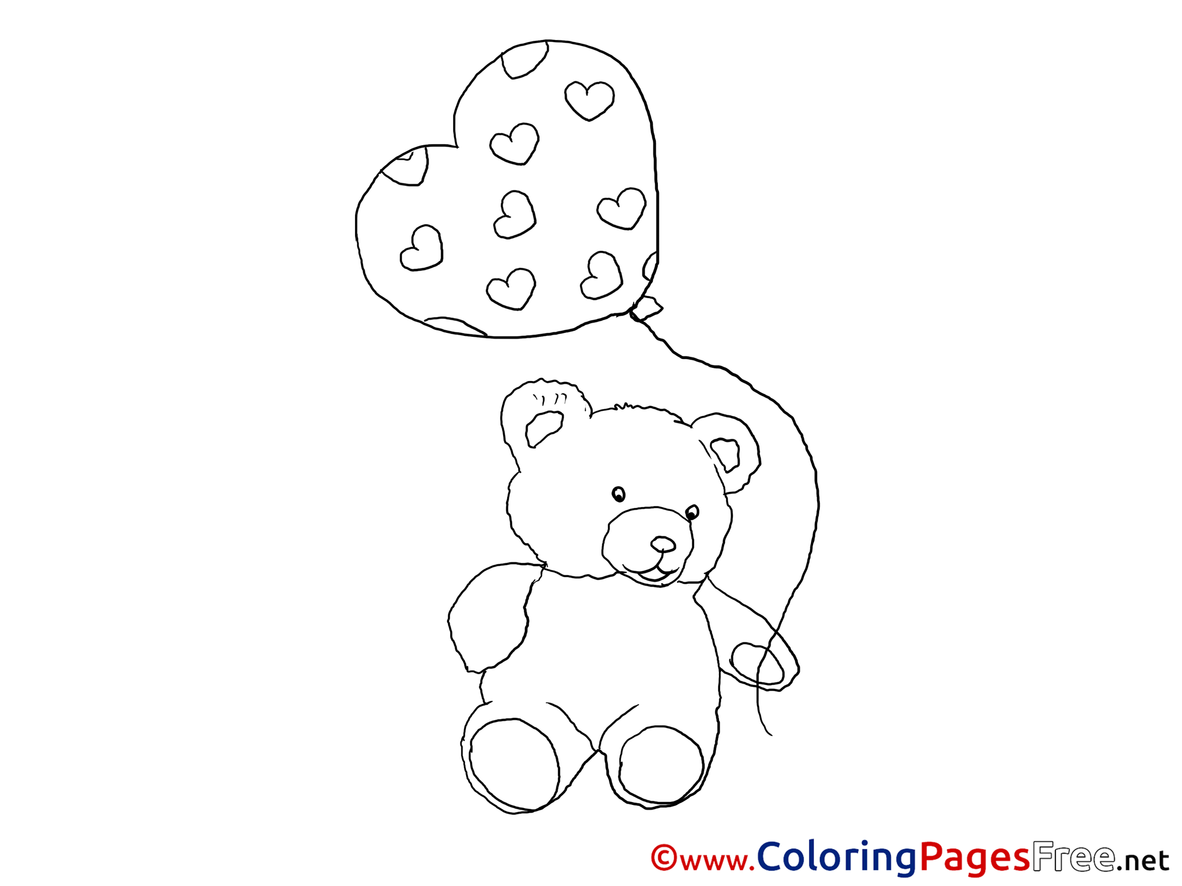 Bear Balloon Printable Coloring Pages Valentines Day