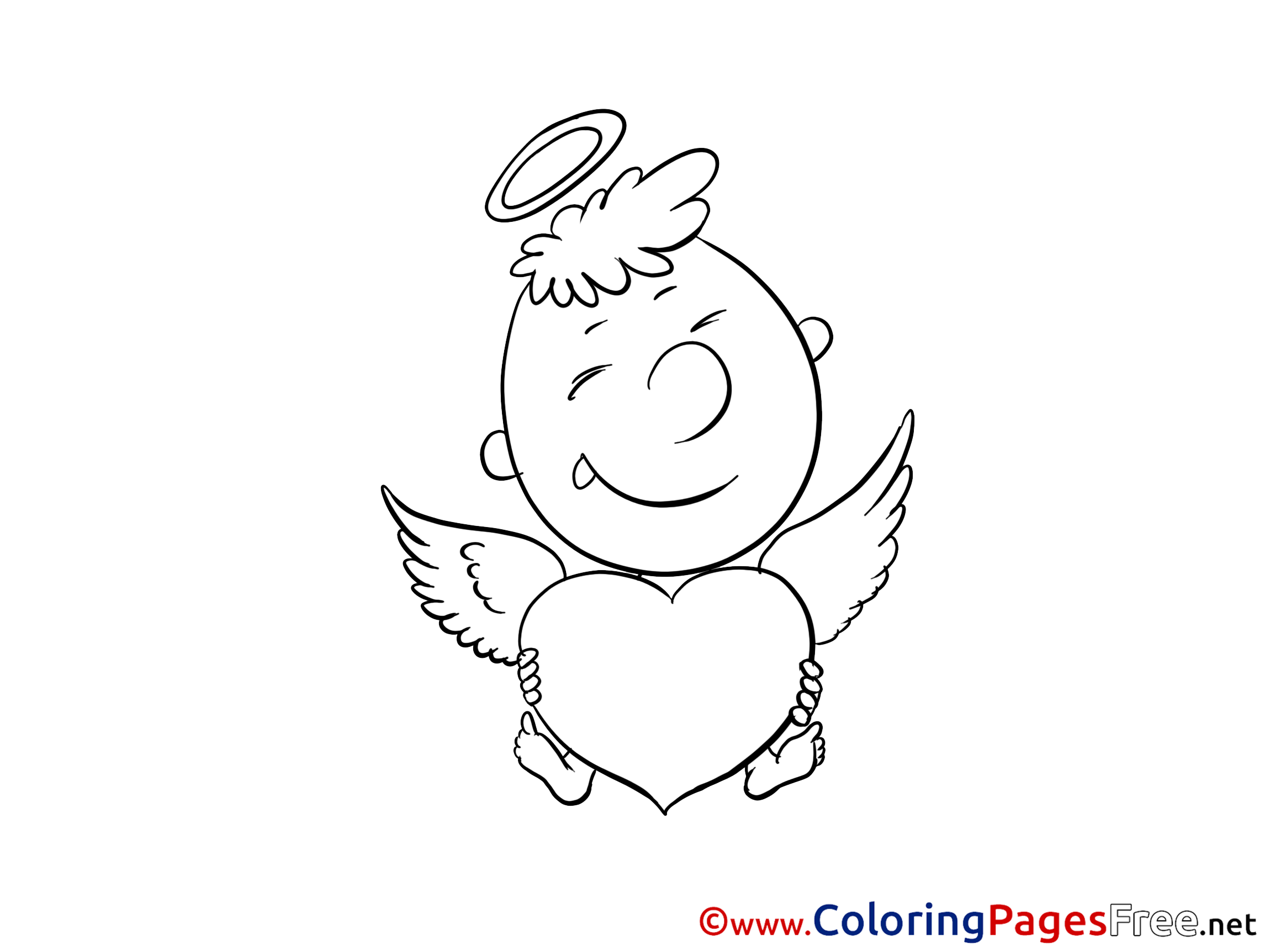 Valentine's Day coloring page - Cupid with Bow | 1725x2300