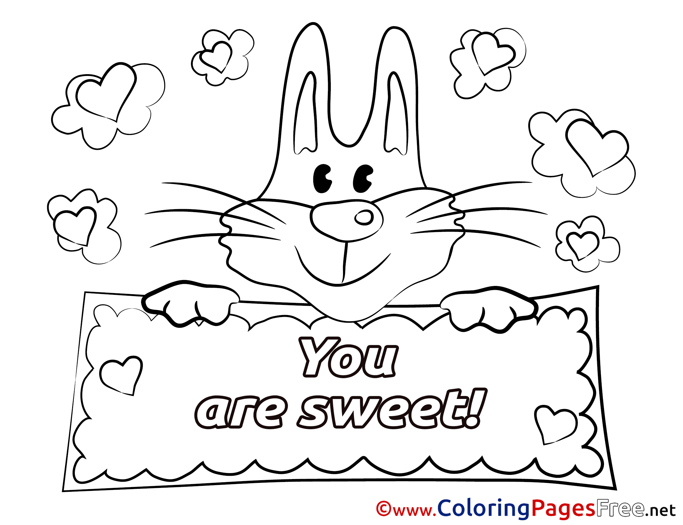 Bunny Valentine S Day Free Coloring Pages