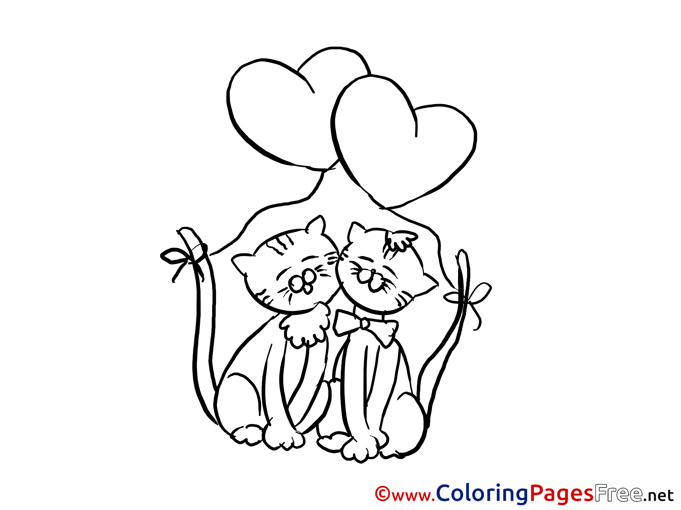 Cats Love printable Coloring Pages Valentine\'s Day