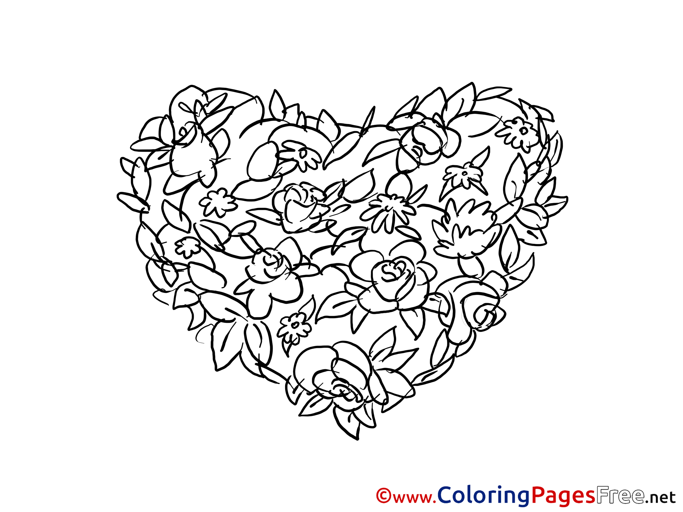 Flowers Heart free Valentine\'s Day Coloring Sheets
