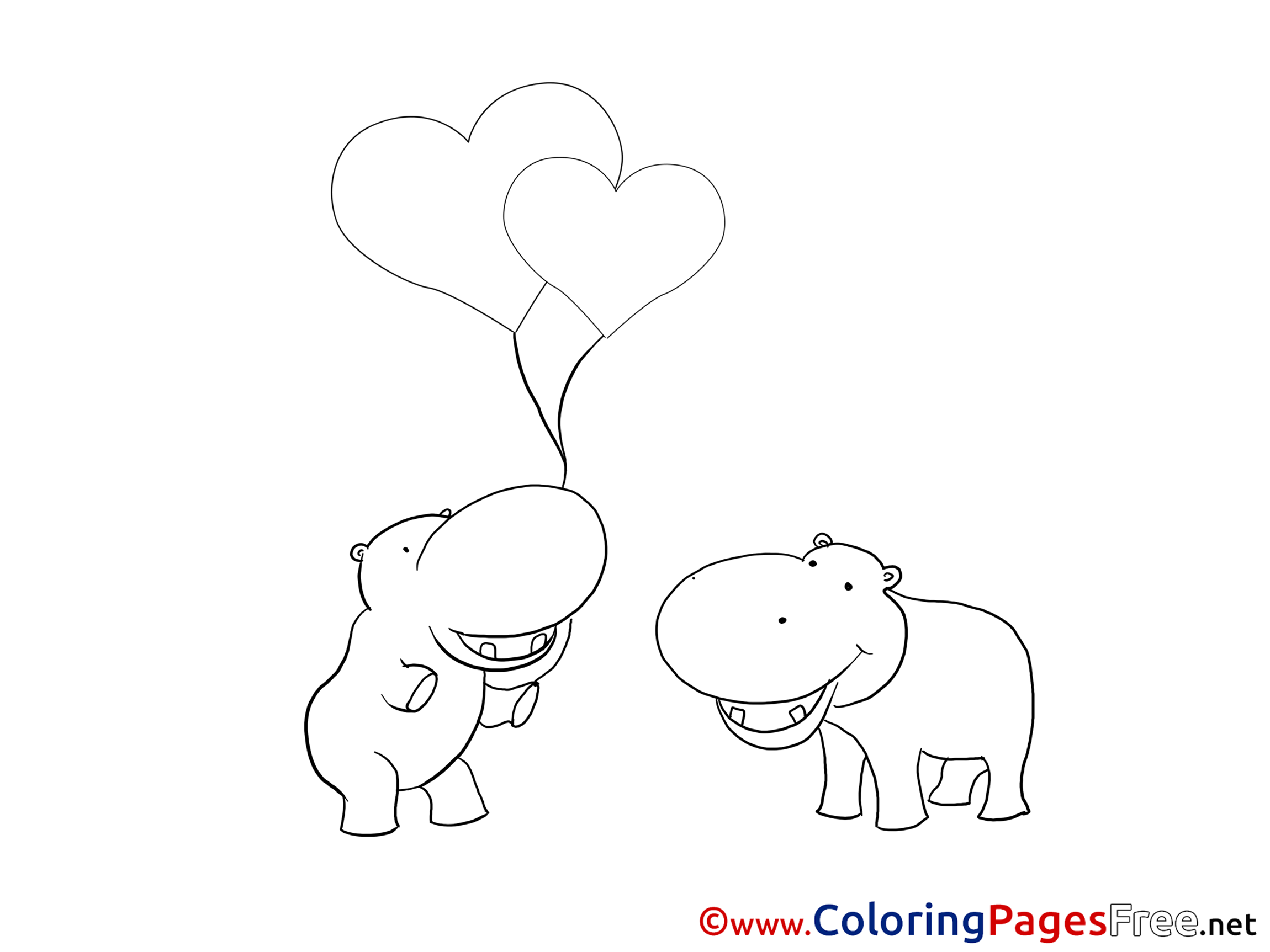 Valentines Color Pages HippoColorPrintable Coloring Pages Free