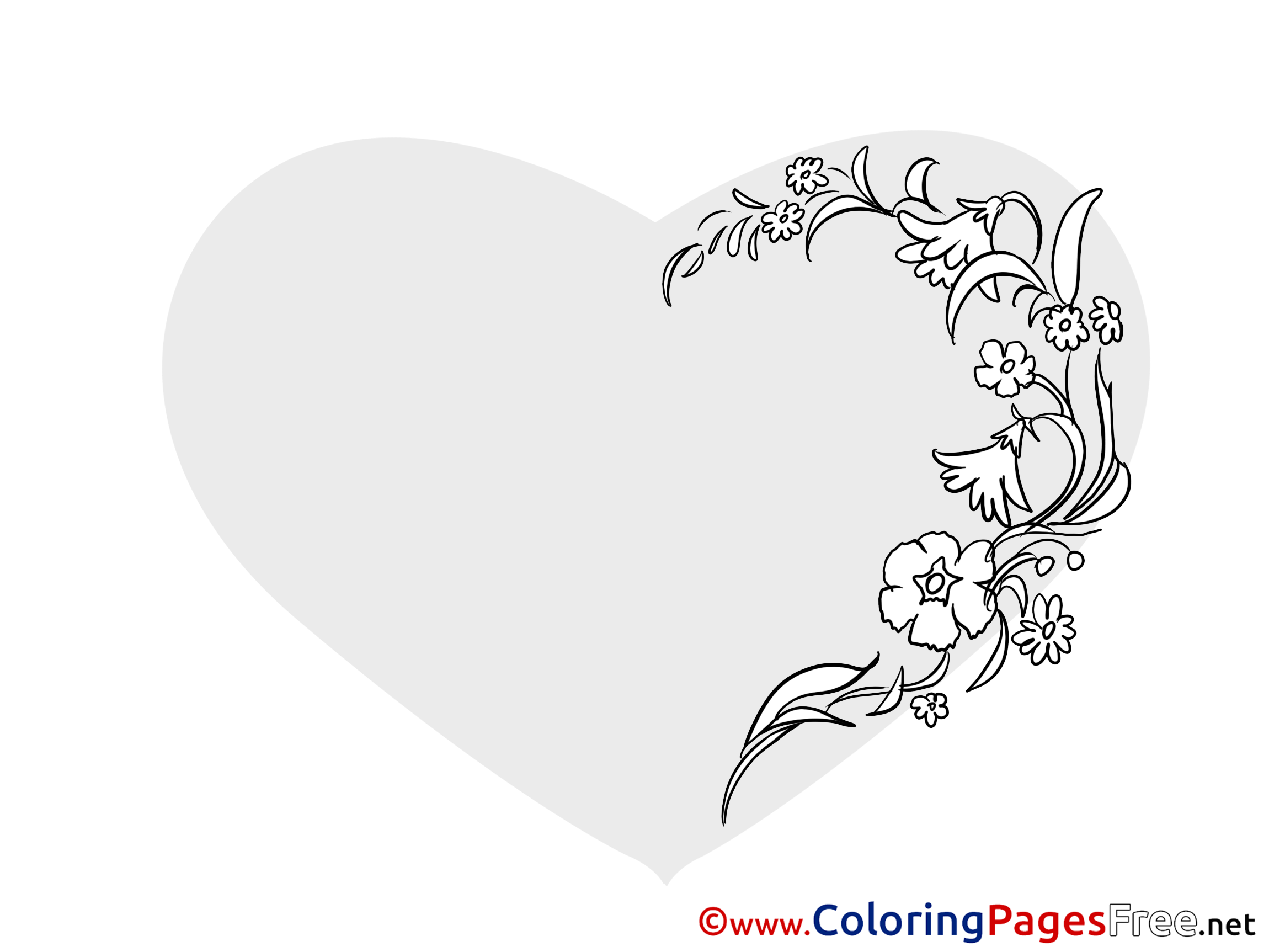 Image Flowers Heart free Valentine\'s Day Coloring Sheets