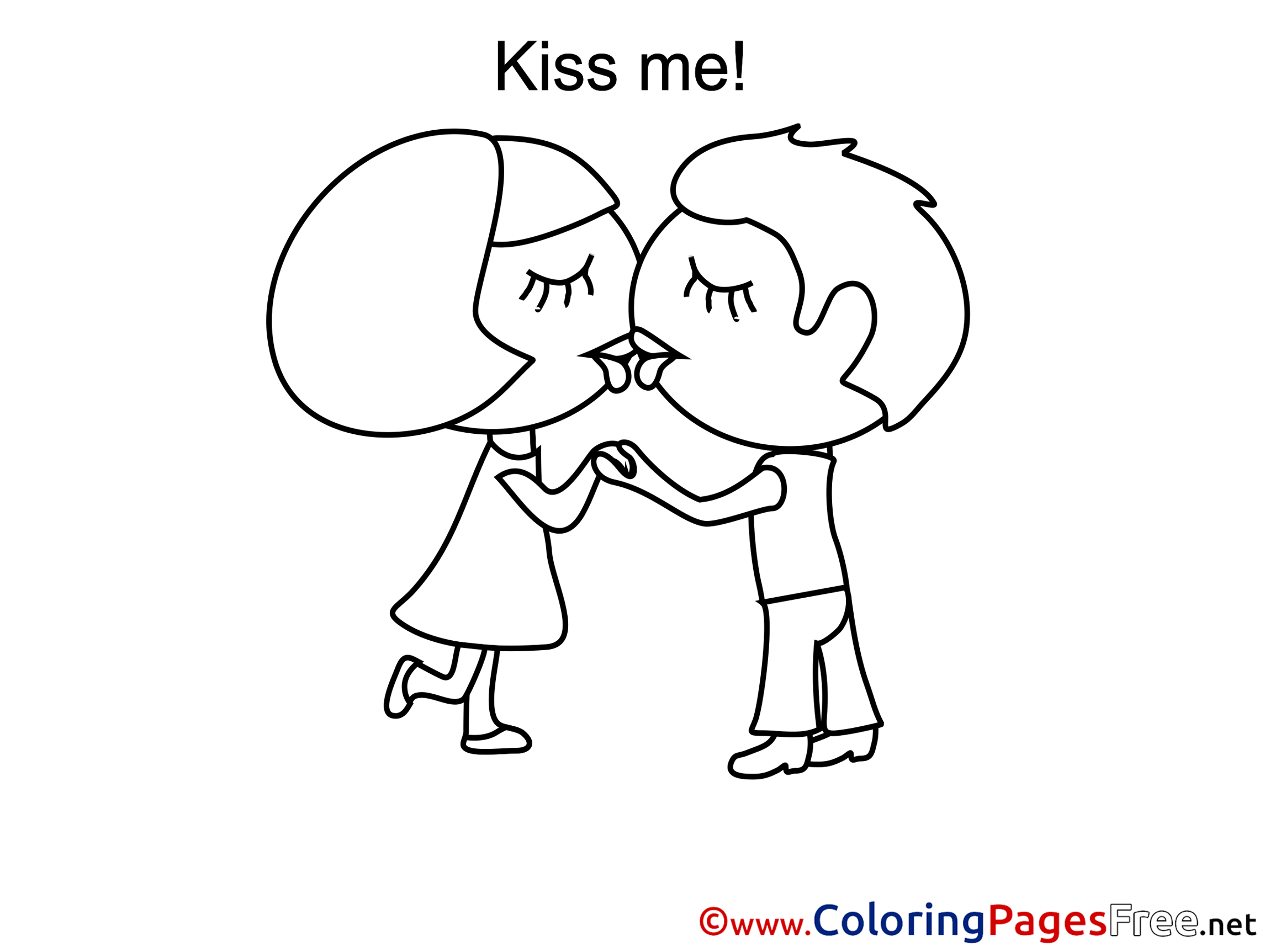 Kids kissing coloring pages