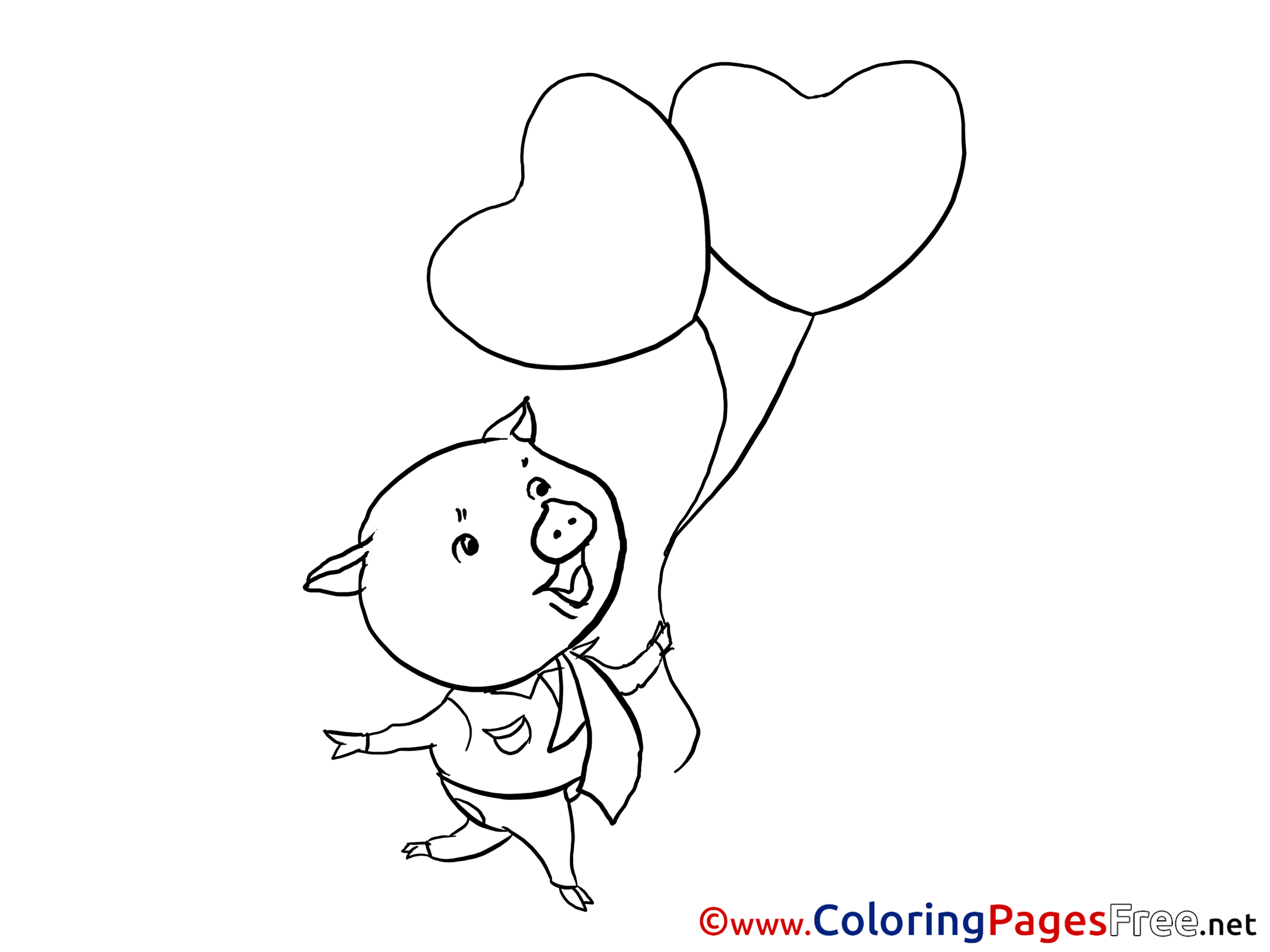 pig balloons kids valentine u0027s day coloring pages