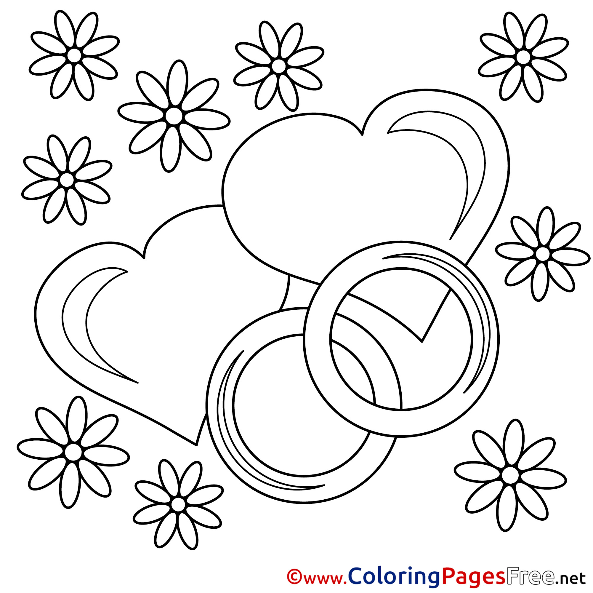 - Wedding Rings Coloring Pages Valentine's Day For Free