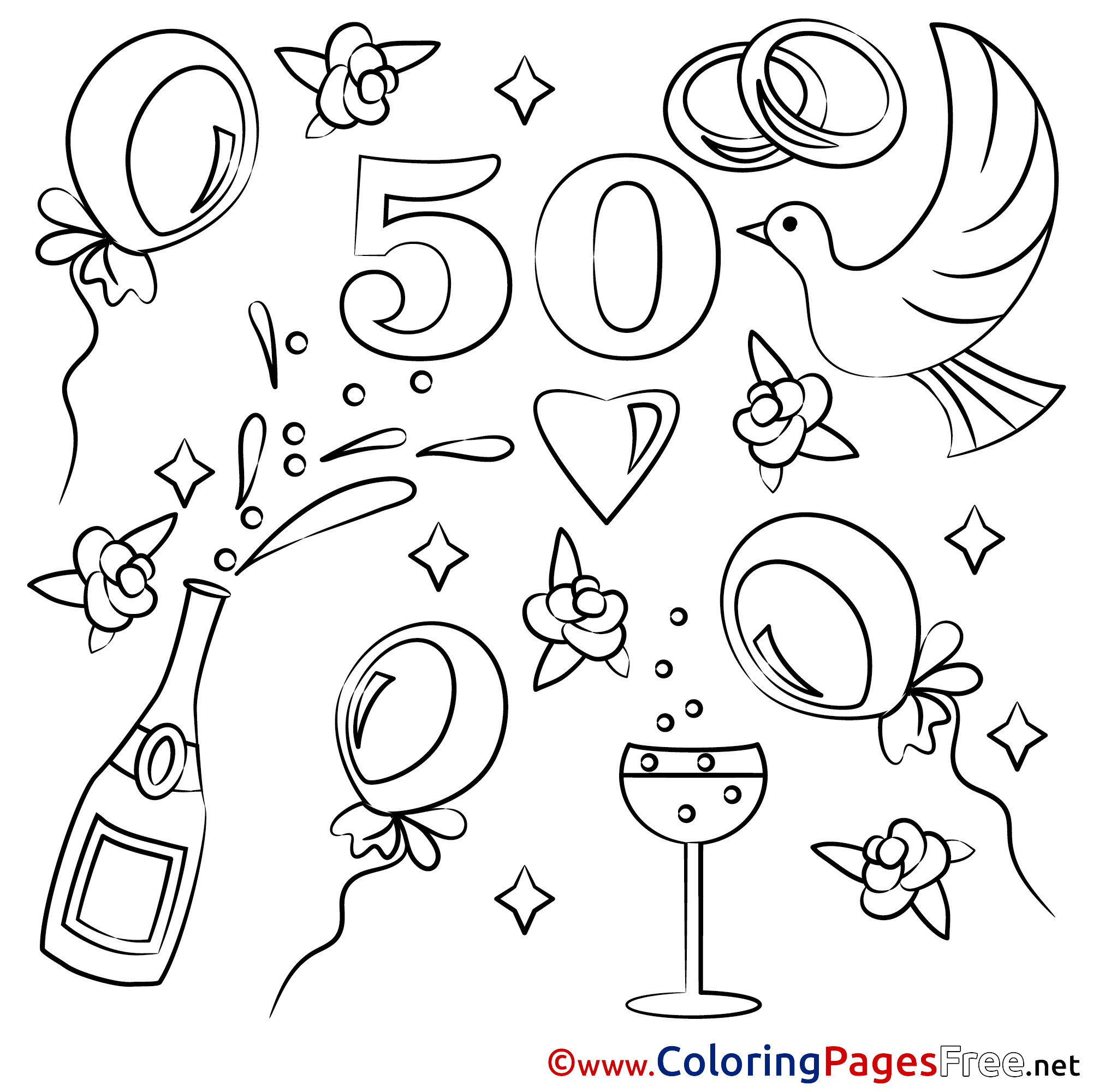 - 50 Years Wedding Free Coloring Pages For Children
