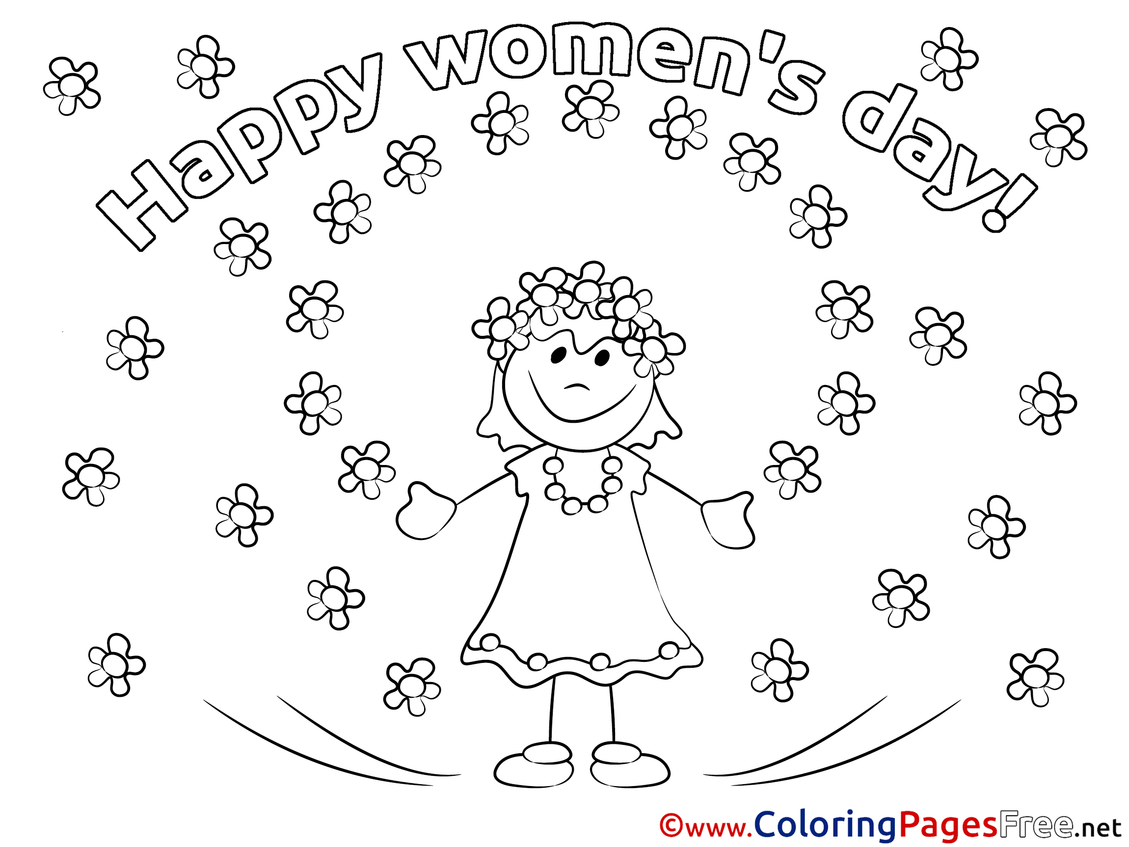 girl flowers coloring pages womens day for free - Coloring Pages For Women