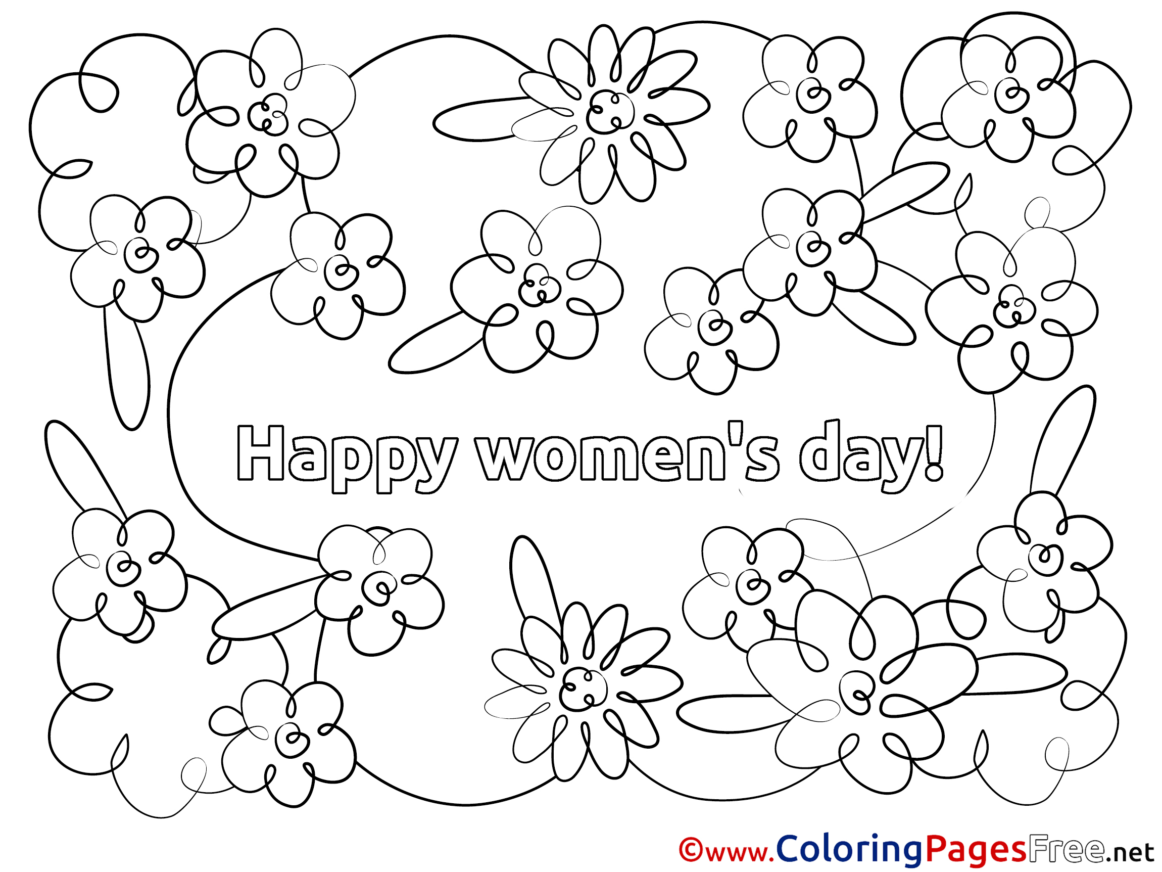International womens day coloring pages ~ Happy Women's Day free Flowers Colouring Page
