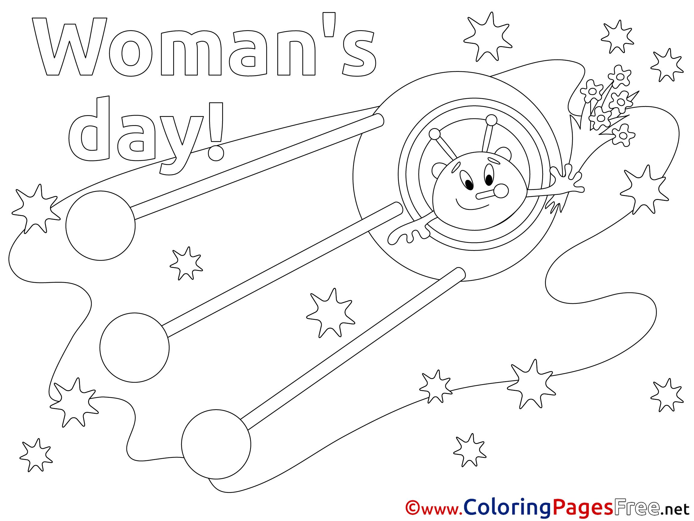 rocket alien kids women u0027s day coloring page