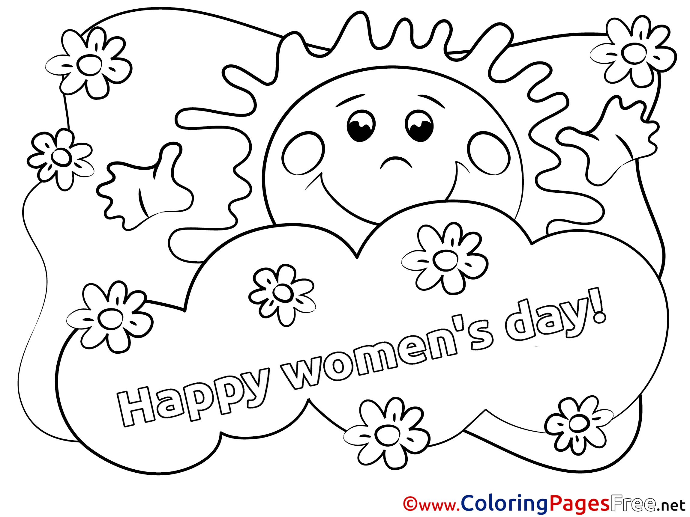sun colouring page women u0027s day free