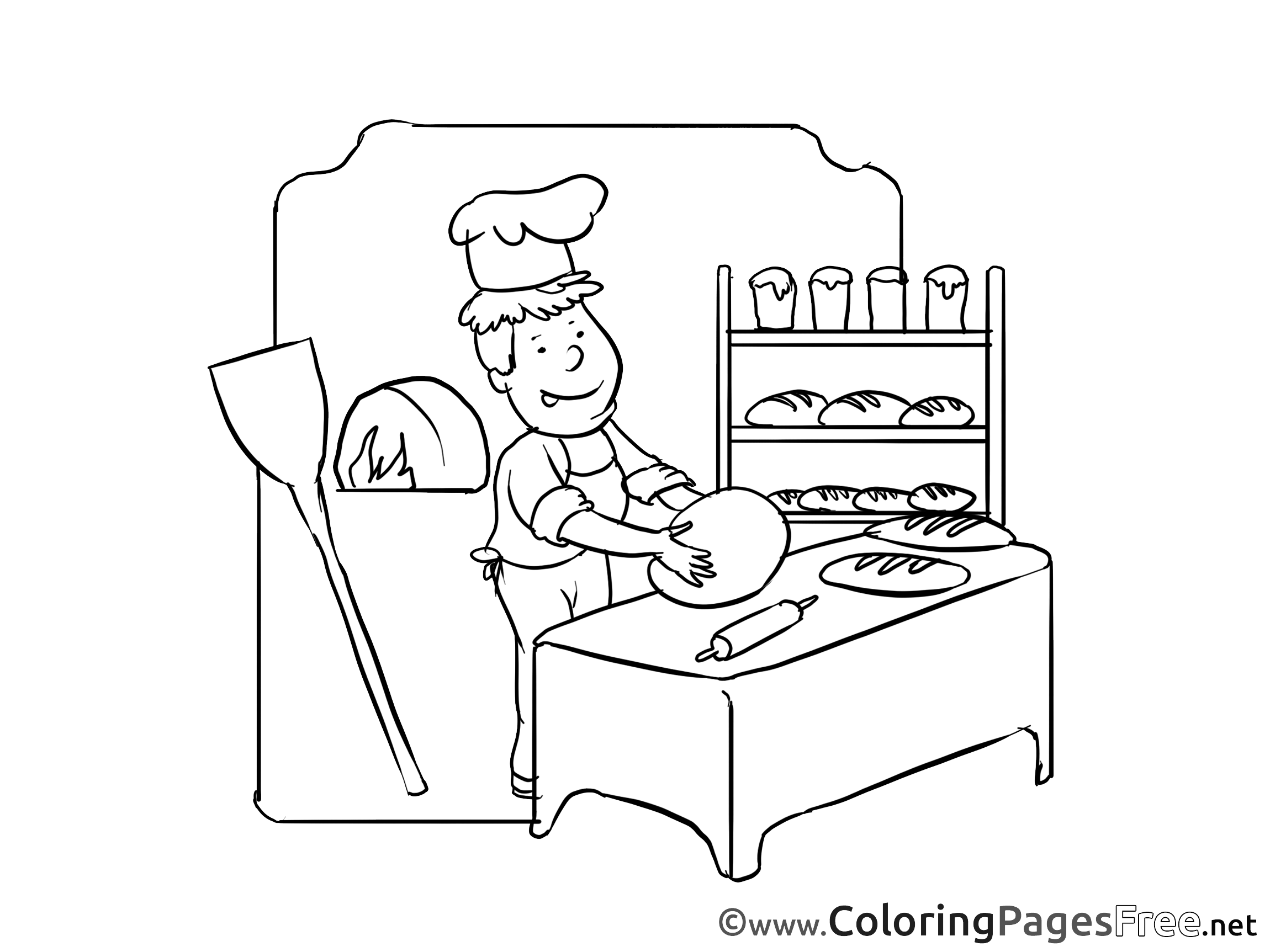 Baker Kids Invitation Coloring Page