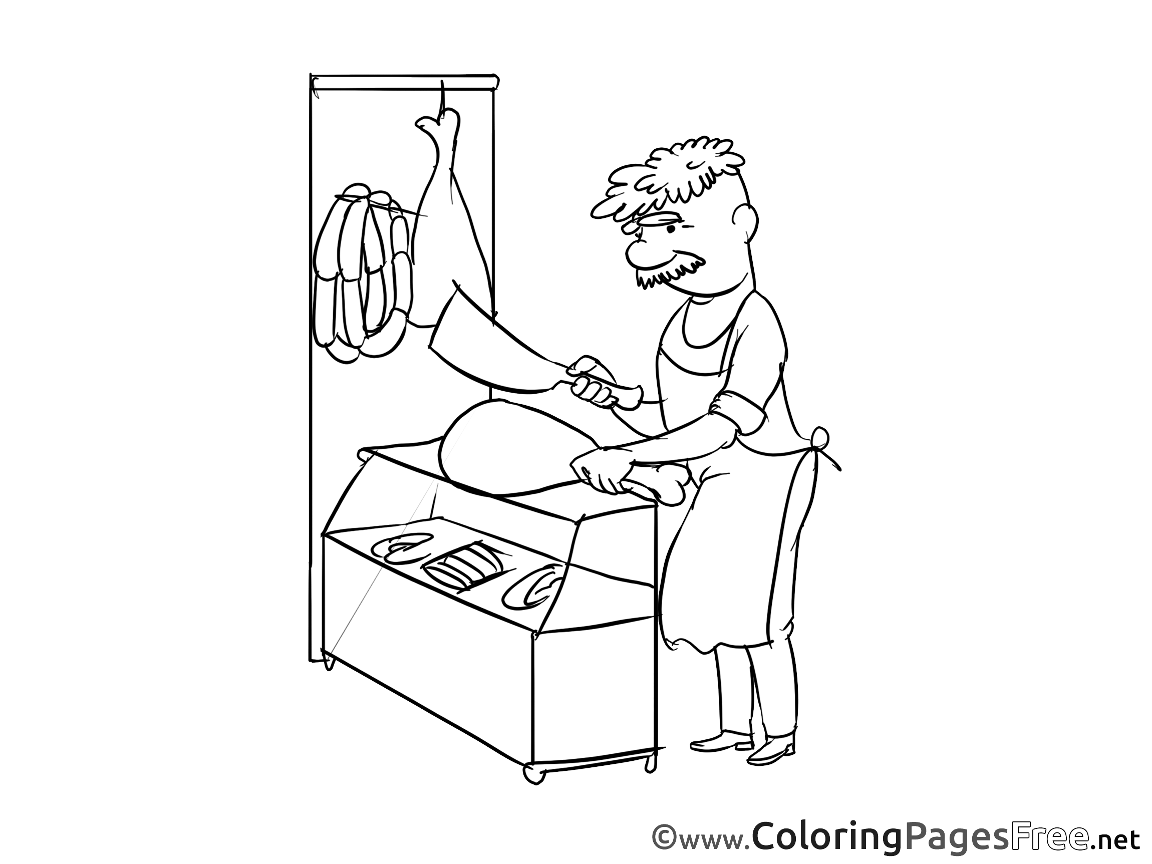 Butcher for free Coloring Pages