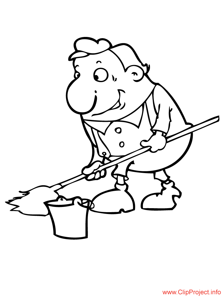 Cleaner image work coloring pages