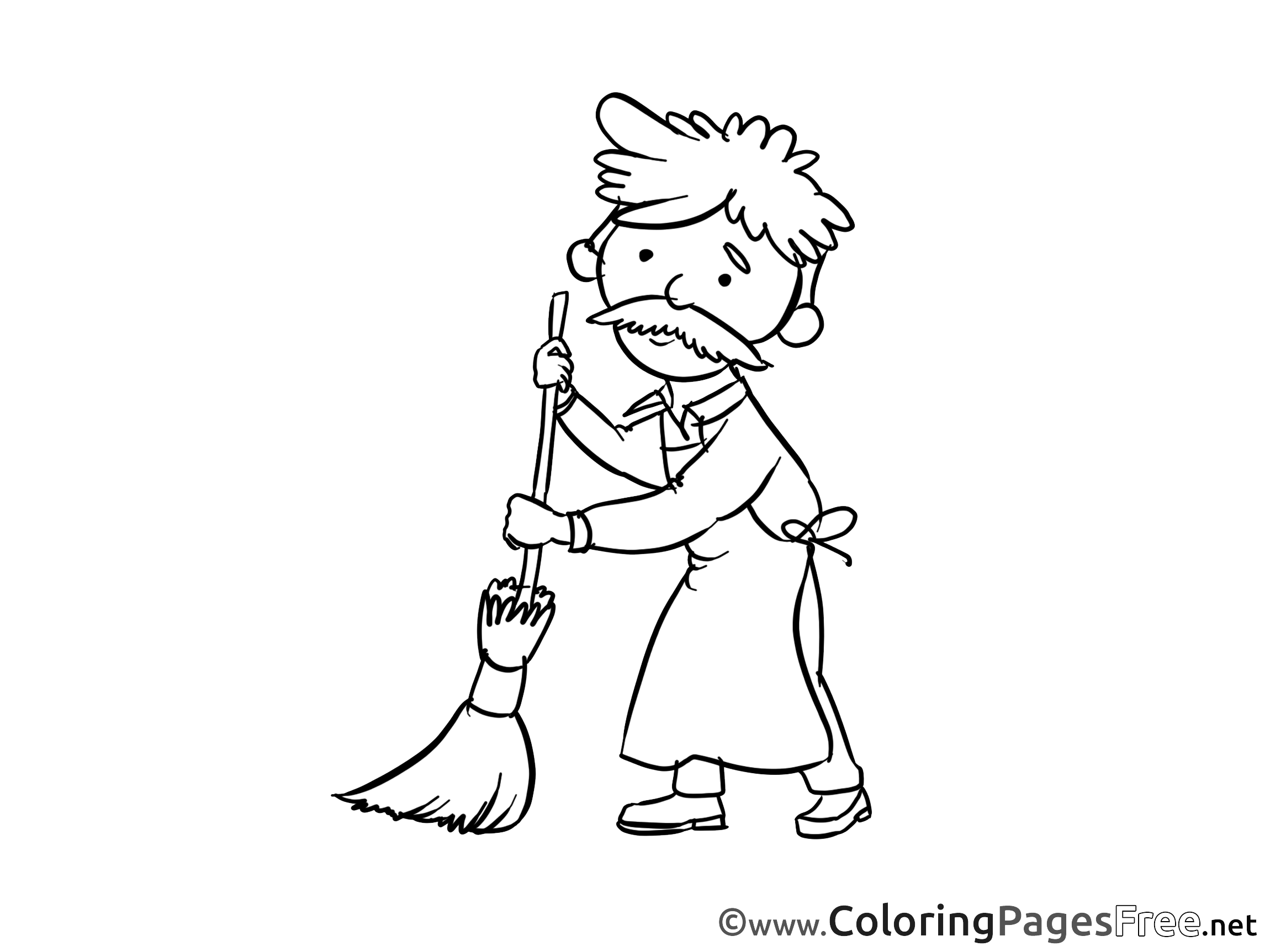 Janitor download printable Coloring Pages