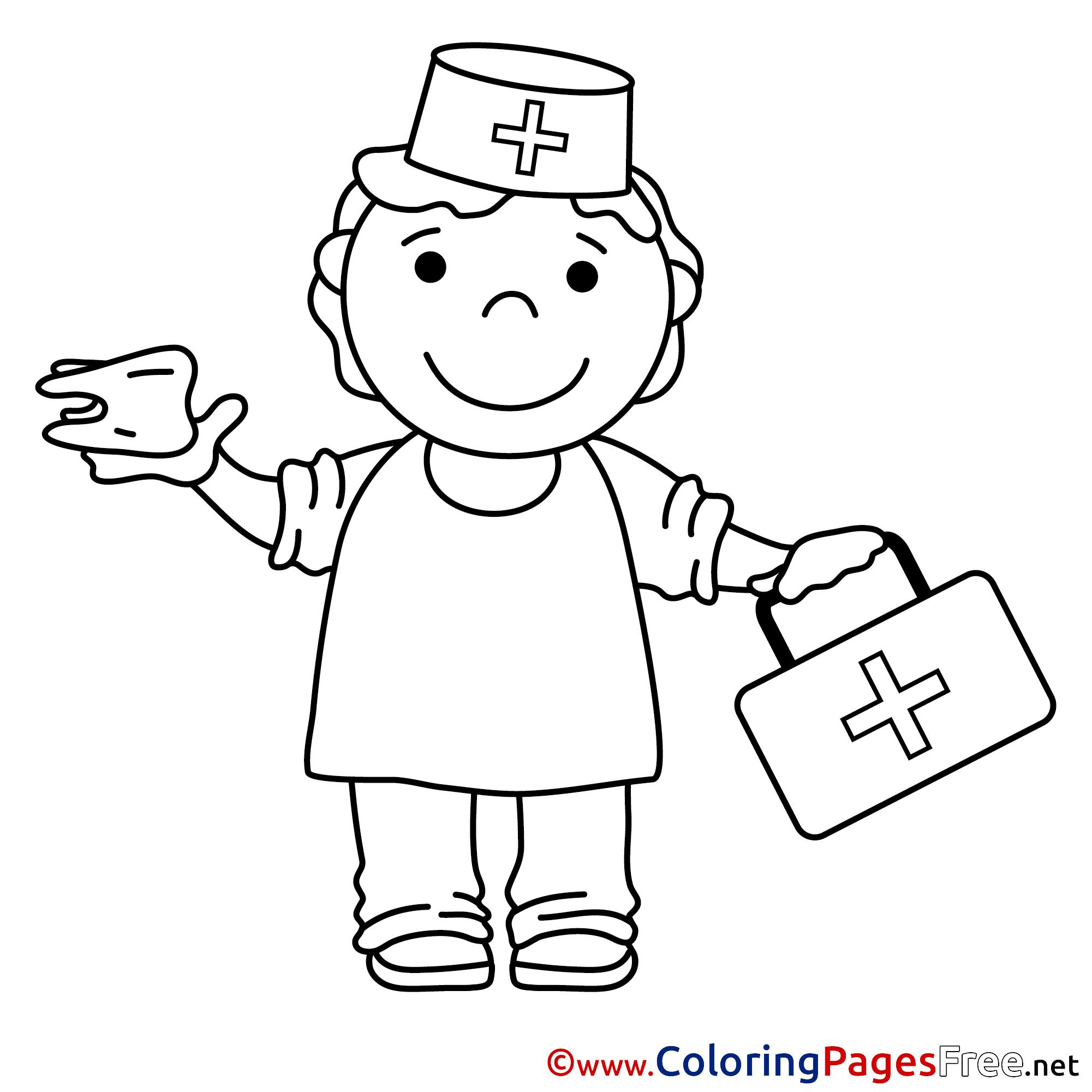 Nurse Colouring Sheet download free