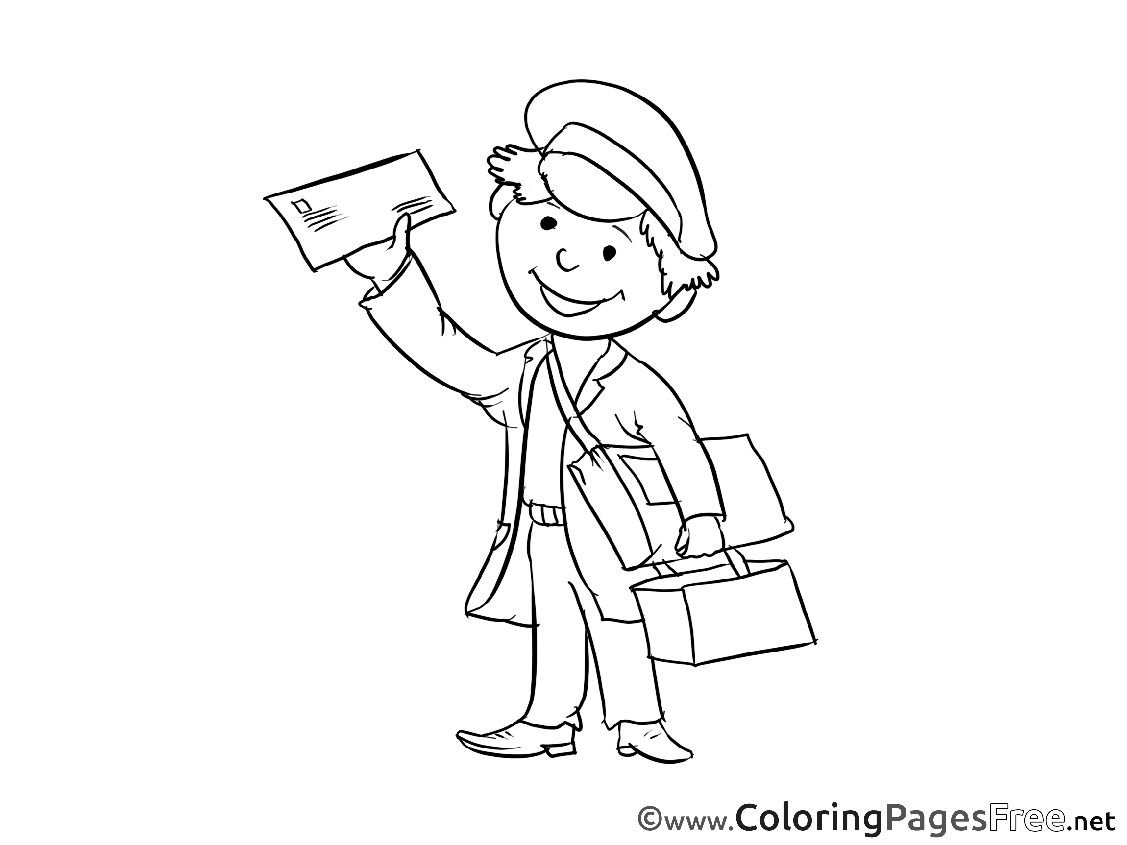 Postman coloring sheets download free for Mailman coloring pages