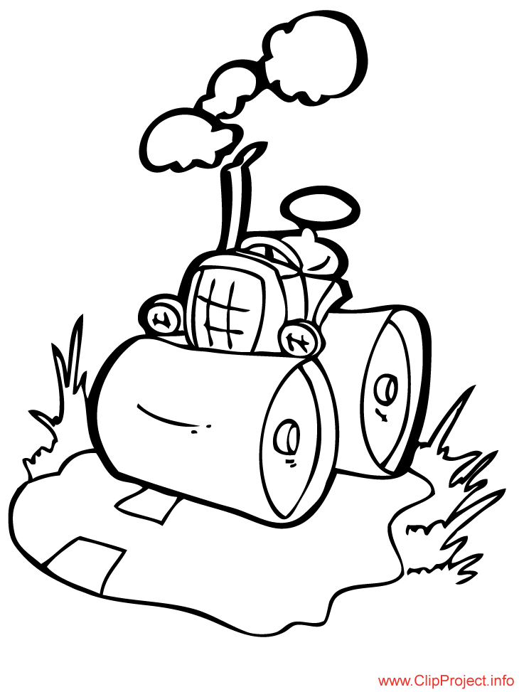 Tractor Cartoon Work Coloring Pages