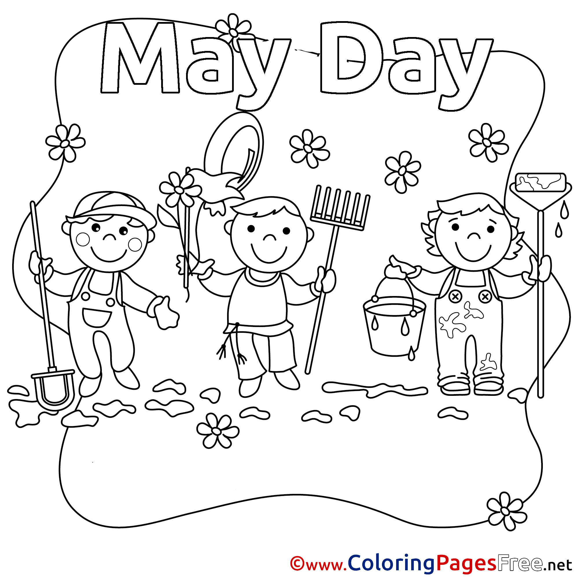 Printable may day baskets basket sketch coloring page for May coloring pages printable