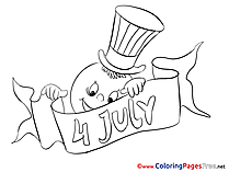 4th of July free Colouring Page download