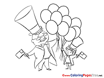 Baloon printable Coloring Pages for free 4th of July
