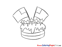 Cake Colouring Sheet Fourth of July download free