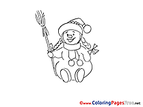 Broom Snowman printable Advent Coloring Sheets