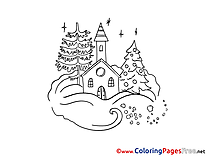 Building Snow free Colouring Page Advent