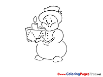Cake Advent Colouring Sheet free Snowman