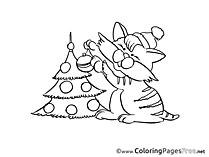 Cat Advent Colouring Sheet free