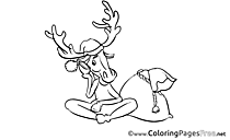 Deer download Advent Coloring Pages