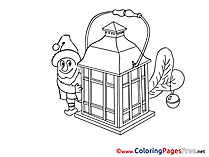 Elf Lamp Colouring Page Advent free
