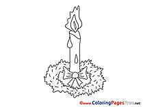 Flame Advent Coloring Pages free Candle
